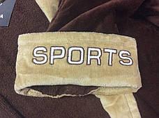 Натуральный Мужской халат SPORT коричневый, фото 2