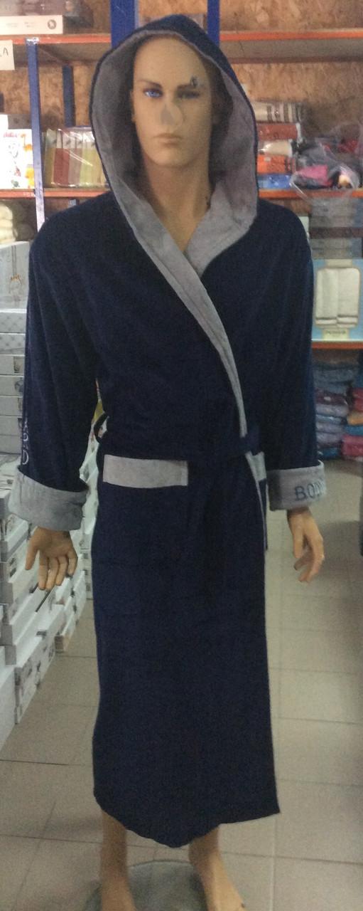 Натуральный Мужской халат BODYGUARD темно синий