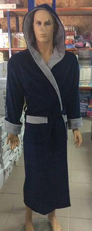 Натуральный Мужской халат BODYGUARD темно синий, фото 2