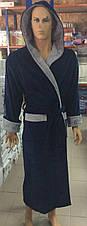 Натуральный Мужской халат BODYGUARD темно синий, фото 3