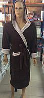 Мужские махровые халаты SPORT коричневый