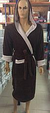Мужские махровые халаты SPORT коричневый, фото 2
