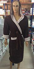 Мужские махровые халаты SPORT коричневый, фото 3