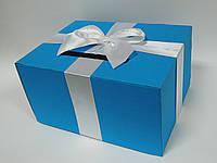 Коробка для денег голубая с бантом