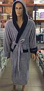 Мужские махровые халаты BODYGUARD серый
