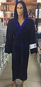 Мужские махровые халаты GOODNIGHT AMERICA  т.синий+синий