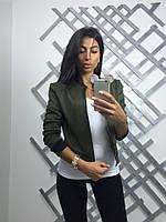 Стильная женская куртка материал замша, на молнии, зеленый цвет