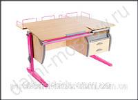 Детская парта «Дэми» СУТ.17.04-04, цвет клен/розовый.