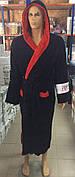 Мужские махровые халаты GOODNIGHT AMERICA  т.синий+красный