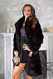 """Шуба из темной куницы """"Галла"""" marten fur coat jacket, фото 4"""