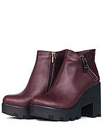 Кожаные бордовые ботинки на тракторном каблуке, фото 1