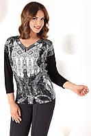 Женская трикотажная блуза черного цвета с абстрактным рисунком. Модель Olivia Top-Bis.