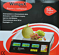 Электронные торговые весы Wimpex 50 кг со счетчиком цены, фото 1