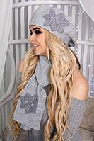 Комплект Лилии (берет и шарф) Светло-серый меланж