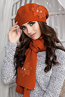 Комплект Лилии (берет и шарф) Терракот