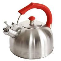 Чайник со свистком 2,5 литра (нержавейка). Из нержавеющей стали для газовой плиты. Нержавеющий чайник