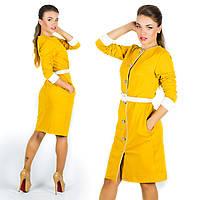 Горчичное платье 15573
