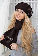 Комплект Камилла (берет и шарф) Коричневый
