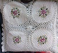 Декоративная наволочка льняная вязка цветы , фото 1
