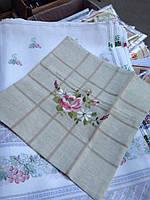 Декоративная наволочка льняная с вышивкой цветок, фото 1