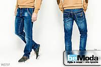 Изысканные джинсы Luvans классического прямого кроя, украшенные декоративными потёртостями и нашивками синие