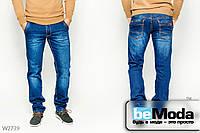 Молодёжные джинсы Luvans элегантного прямого кроя с контрастной выстрочкой и декоративными потёртостями синие