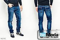 Современные джинсы Luvans классического прямого кроя с карманами, декоративными потёртостями и складками синие