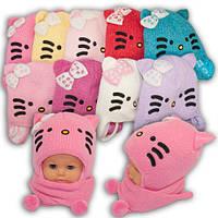 Детский комплект - шапка и шарф для девочки, Amal (Польша), утеплитель Iso Soft, EDZ5