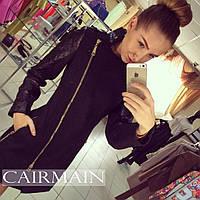 """Женское стильное пальто """"Зара"""" с кожаными рукавами"""
