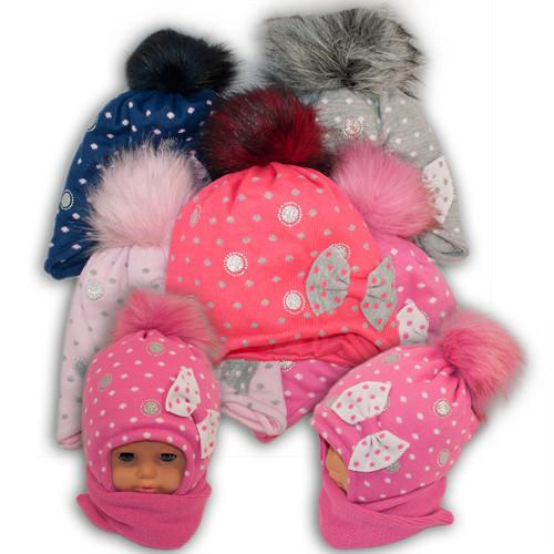Детский комплект - шапка и шарф для девочки, Ambra (Польша), утеплитель Iso Soft