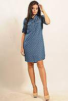 Удобное и практичное повседневное платье-рубашка из джинса 42-52 размеры