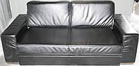 Диван кровать кожаный, черный, тройка.Бесплатная доставка