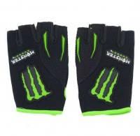 Вело-мото перчатки MONSTER Energy MS-4638-BG (PL, PVC, открытые пальцы, р-р S-XL черный-салатовый)
