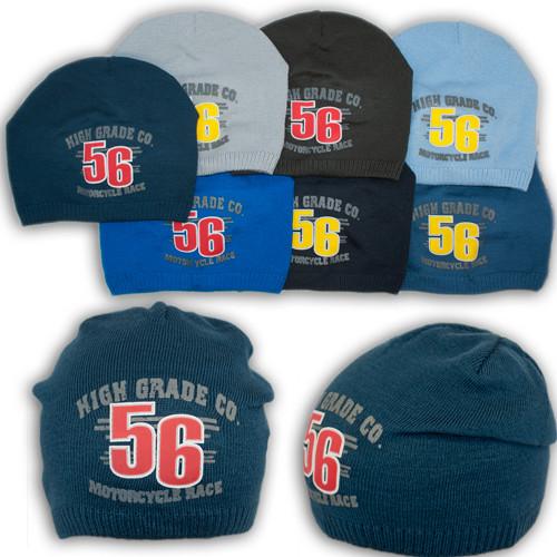 """Вязаная шапка для мальчика с принтом """"56"""", V117"""