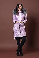 Зимняя женская молодежная куртка. Код К-77-12-17. Цвет светло лиловый.