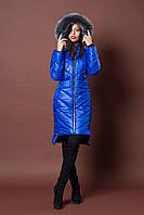 Зимняя женская молодежная куртка. Код К-77-12-17. Цвет ярко синий.
