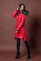 Зимняя женская молодежная куртка. Код К-77-12-17. Цвет красный.