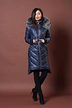 Зимняя женская молодежная куртка. Код К-77-12-17. Цвет темно синий.
