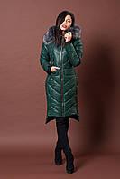 Зимняя женская молодежная куртка. Код К-77-12-17. Цвет темно зеленый.