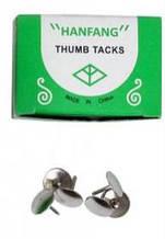 Кнопки канцелярские, 50 шт, гвоздики, никелированные