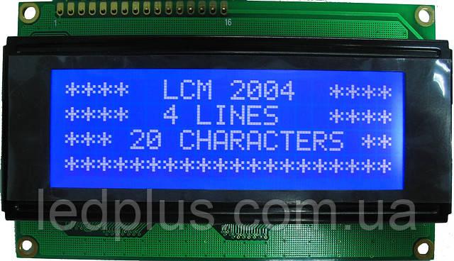 Индикатор ЖКИ 2004 с подсветкой Синий