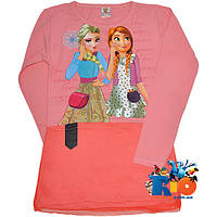 """Детская туника """"Elsa & Anna"""" , из трикотажа , для девочки от 9-12 лет"""