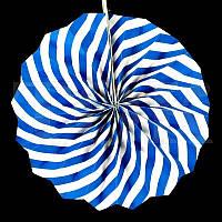 Веер  синий спираль 30см