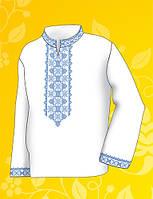 """Заготовка для мужской сорочки на водорастворимом флизелине """"орнамент Сине-голубой"""", фото 1"""