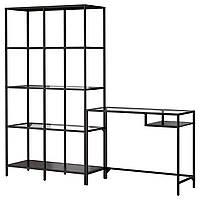 IKEA ВИТШЁ Стеллаж+стол д/ноутбука, черно-коричневый, стекло : S79902657, S799.026.57
