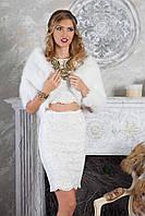 Белый палантин  из финского песца, фото 1