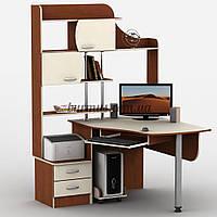 Угловой компьютерный стол с тумбами, Тиса-6, яблоня локарно + ваниль