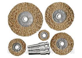 Набор щеток для дрели, 5 шт., 5 плоских 25-38-50-63-75 мм, со шпильками, металлические MTX 744949