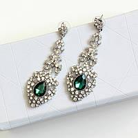 Серьги женские Византия зеленые, сережки женские