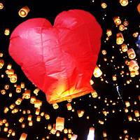 Небесный фонарик в форме сердца